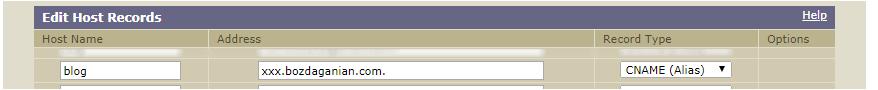 Так выглядит CNAME-запись у регистратора Enom