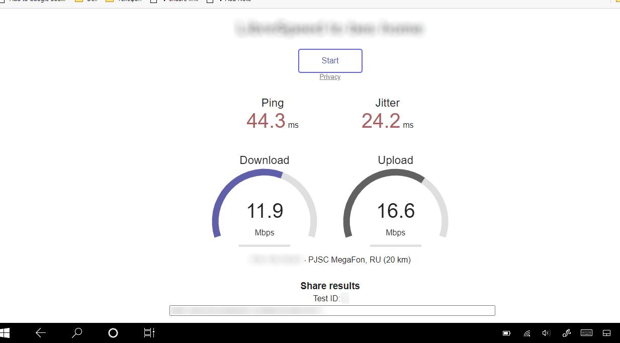 Экран LibreSpeed с результатами замера скорости