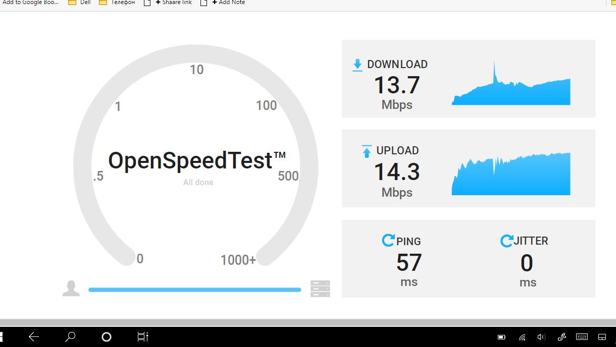 Экран OpenSpeedTest с результатами замера скорости